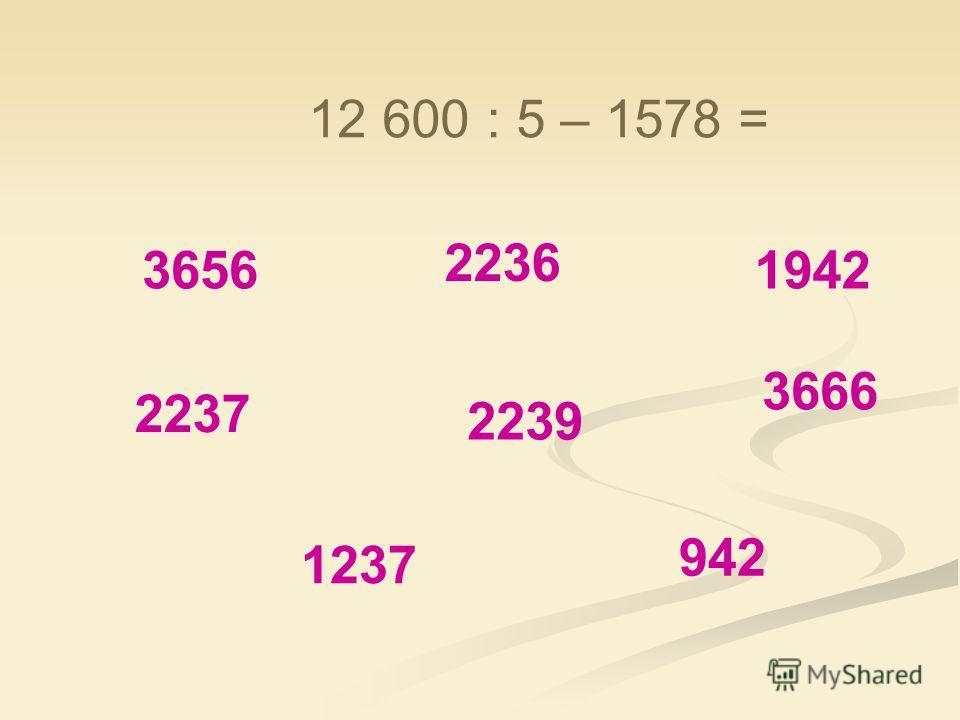 3656 2239 1237 942 1942 2236 3666 2237 11 415 : 3 – 1284. 2 =