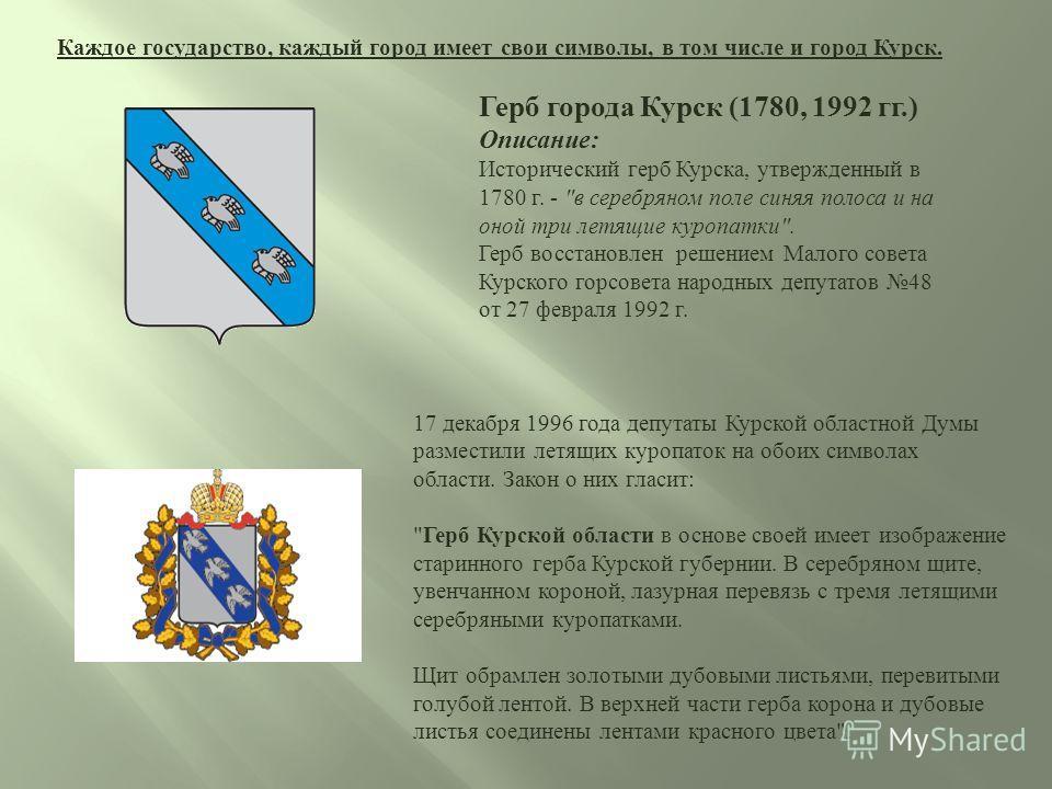 Каждое государство, каждый город имеет свои символы, в том числе и город Курск. Герб города Курск (1780, 1992 гг.) Описание: Исторический герб Курска, утвержденный в 1780 г. -