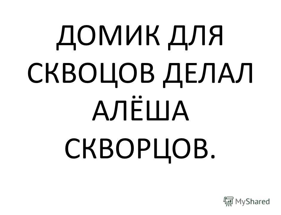 ДОМИК ДЛЯ СКВОЦОВ ДЕЛАЛ АЛЁША СКВОРЦОВ.
