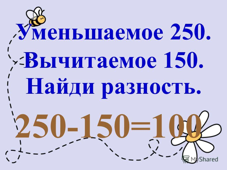 Уменьшаемое 250. Вычитаемое 150. Найди разность. 250-150=100