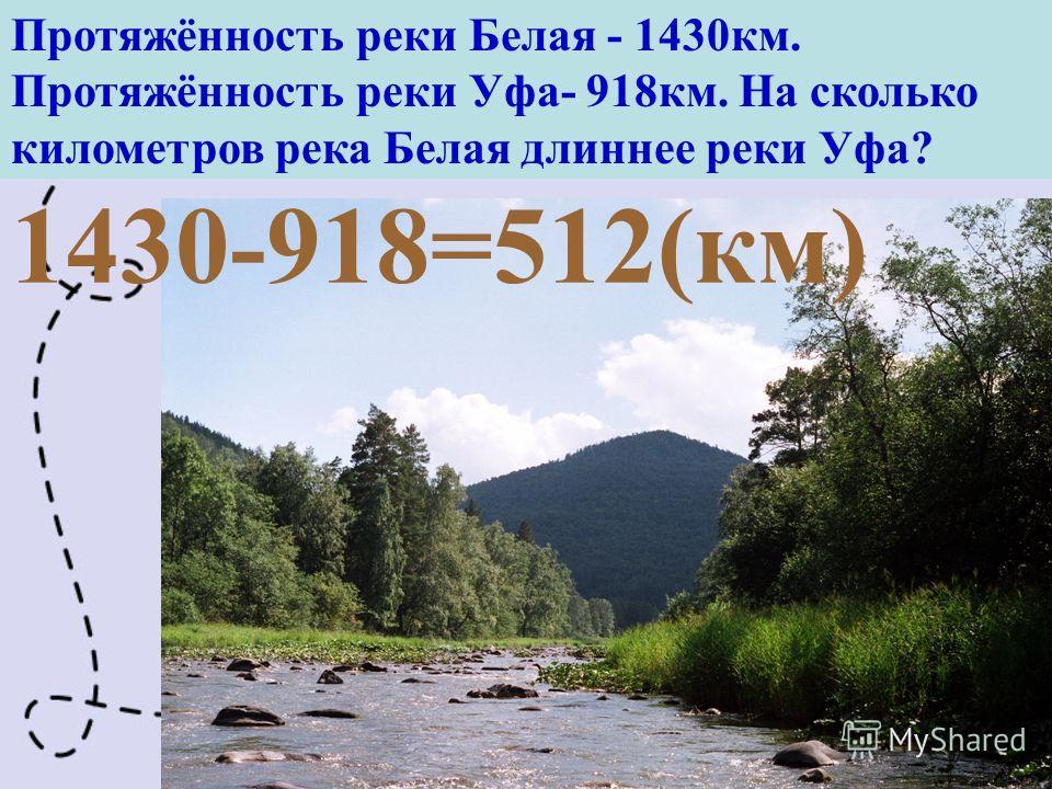 Протяжённость реки Белая - 1430км. Протяжённость реки Уфа- 918км. На сколько километров река Белая длиннее реки Уфа? 1430-918=512(км)