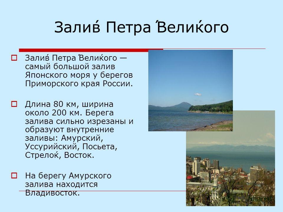 Зали́в Петра́ Вели́кого Зали́в Петра́ Вели́кого самый большой залив Японского моря у берегов Приморского края России. Длина 80 км, ширина около 200 км. Берега залива сильно изрезаны и образуют внутренние заливы: Амурский, Уссурийский, Посьета, Стрело