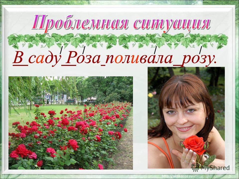В саду Роза поливала розу. //// В саду Роза поливала розу