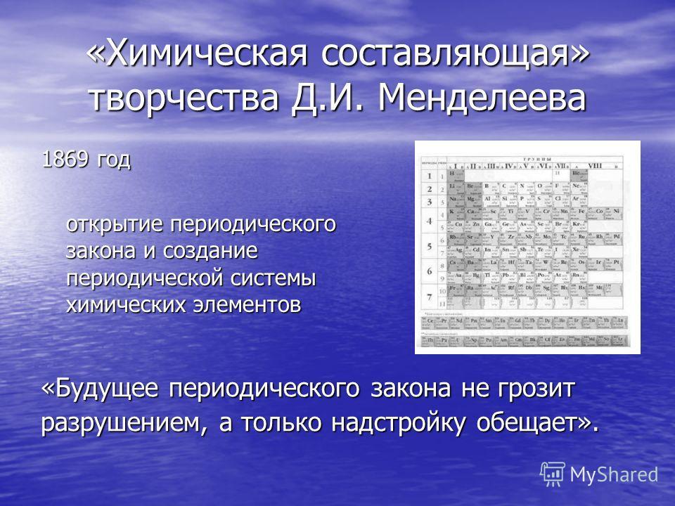 «Химическая составляющая» творчества Д.И. Менделеева 1869 год открытие периодического закона и создание периодической системы химических элементов «Будущее периодического закона не грозит разрушением, а только надстройку обещает».