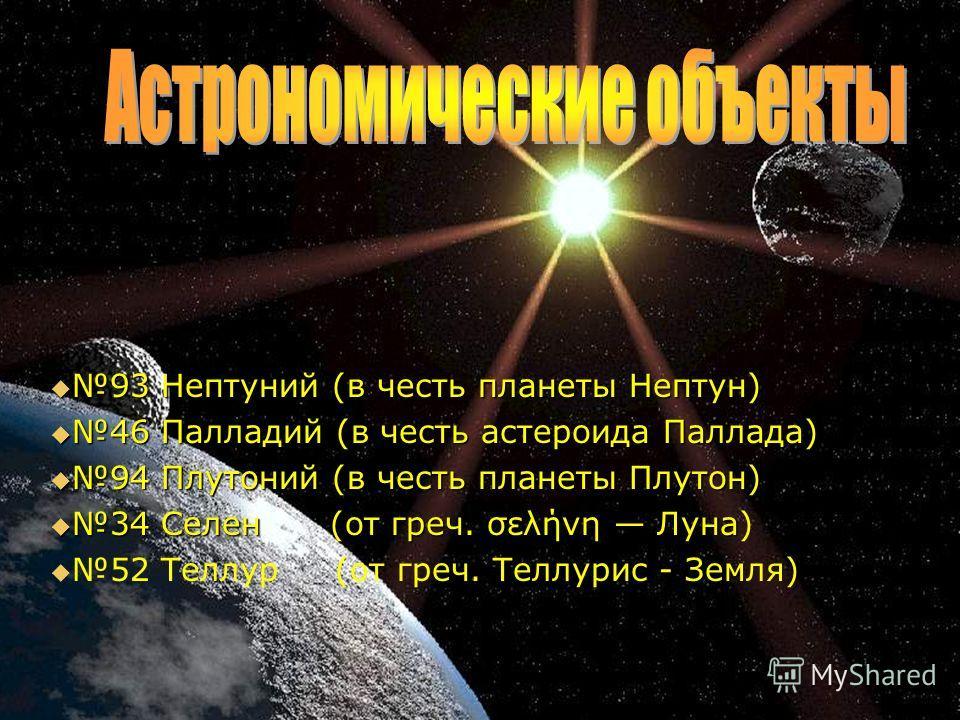 93 Нептуний (в честь планеты Нептун) 46 Палладий (в честь астероида Паллада) 94 Плутоний (в честь планеты Плутон) 34 Селен (от греч. σελήνη Луна) 52 Теллур (от греч. Теллурис - Земля)