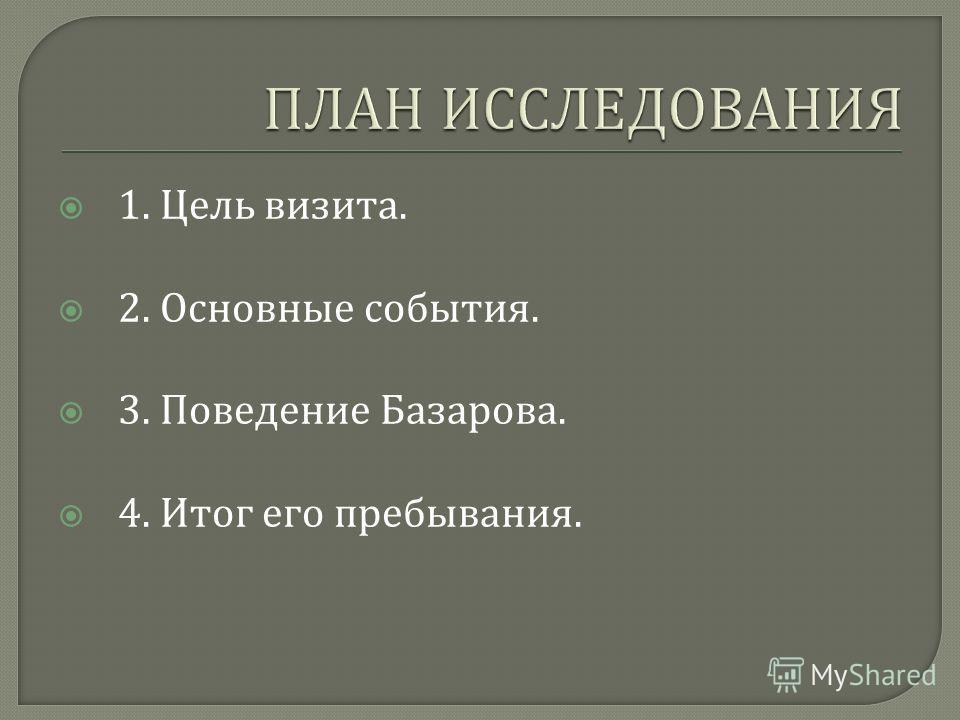 1. Цель визита. 2. Основные события. 3. Поведение Базарова. 4. Итог его пребывания.