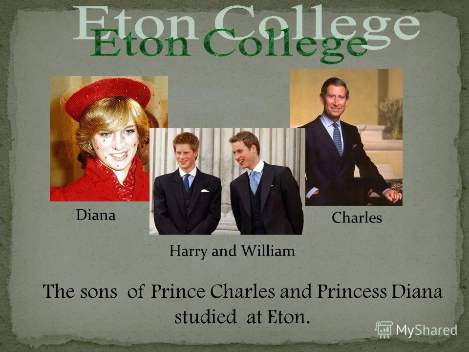 The sons of Prince Charles and Princess Diana studied at Eton. Diana Charles Harry and William