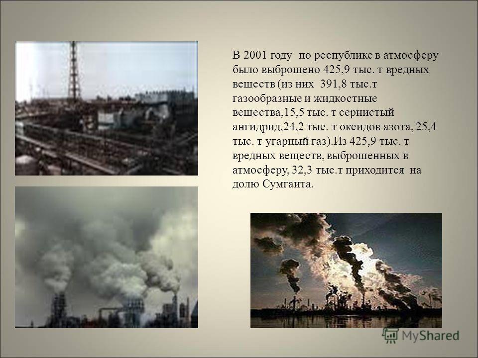 В 2001 году по республике в атмосферу было выброшено 425,9 тыс. т вредных веществ (из них 391,8 тыс.т газообразные и жидкостные вещества,15,5 тыс. т сернистый ангидрид,24,2 тыс. т оксидов азота, 25,4 тыс. т угарный газ).Из 425,9 тыс. т вредных вещест
