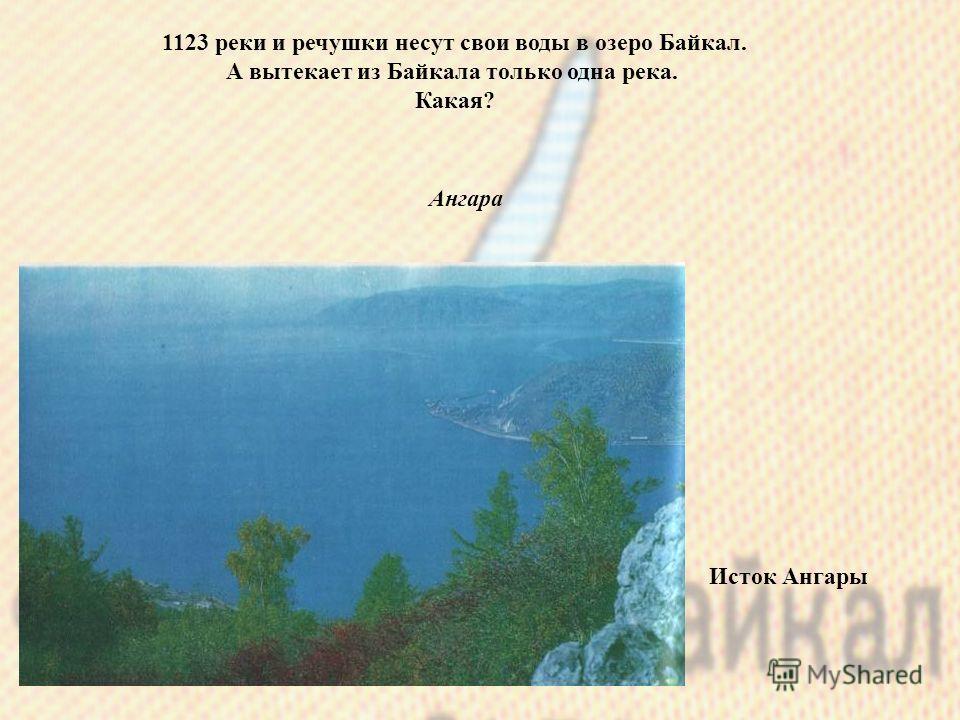 1123 реки и речушки несут свои воды в озеро Байкал. А вытекает из Байкала только одна река. Какая? Ангара Исток Ангары