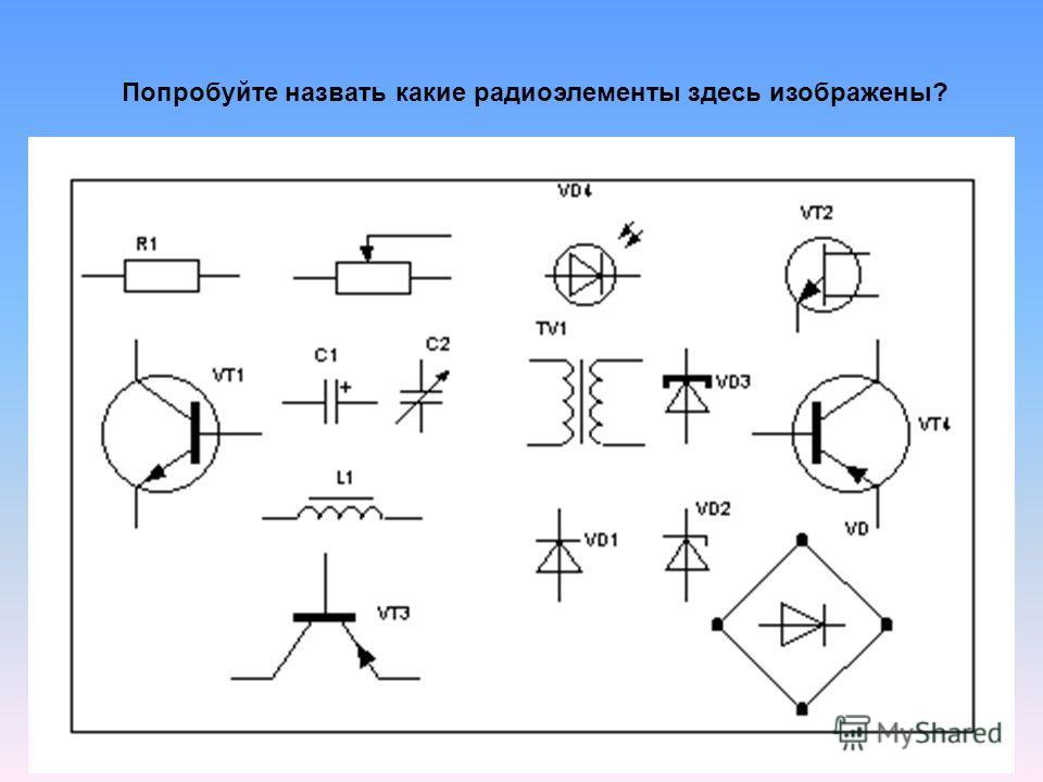 Попробуйте назвать какие радиоэлементы здесь изображены?