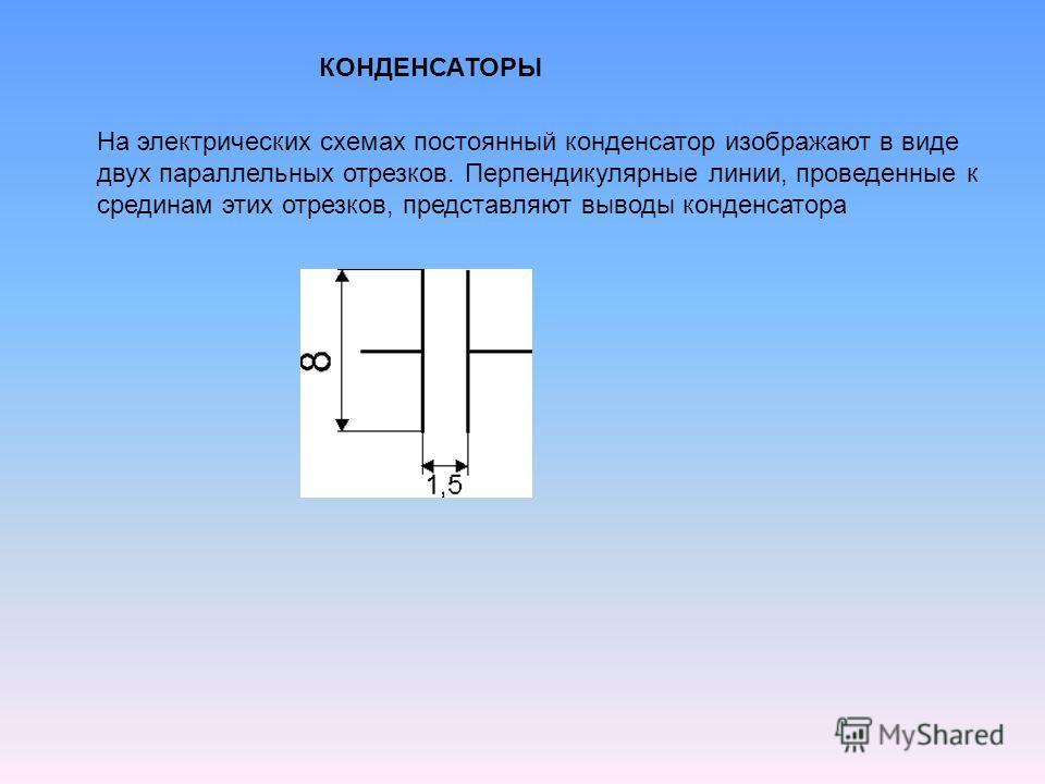 КОНДЕНСАТОРЫ На электрических схемах постоянный конденсатор изображают в виде двух параллельных отрезков. Перпендикулярные линии, проведенные к срединам этих отрезков, представляют выводы конденсатора