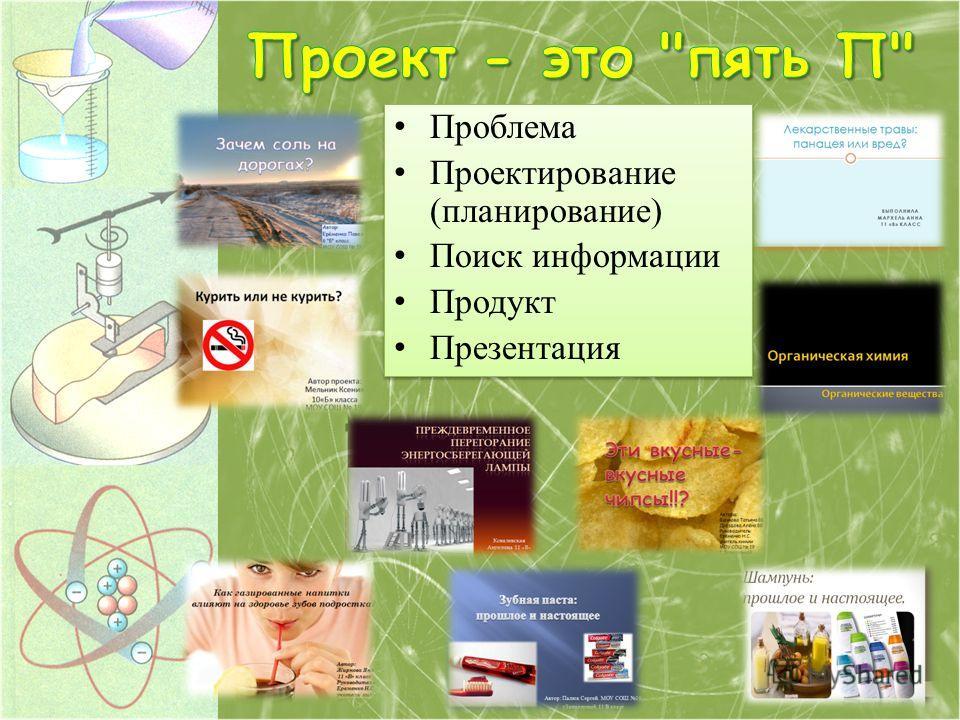 Проблема Проектирование (планирование) Поиск информации Продукт Презентация Проблема Проектирование (планирование) Поиск информации Продукт Презентация