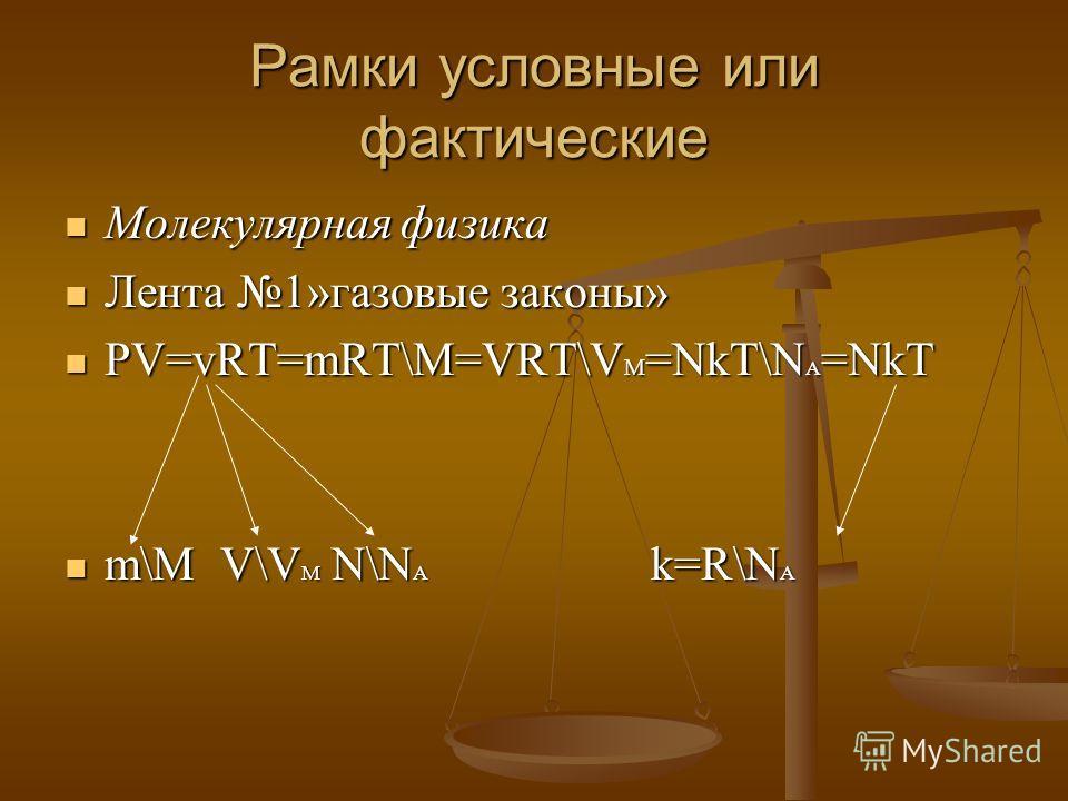 Рамки условные или фактические Молекулярная физика Молекулярная физика Лента 1»газовые законы» Лента 1»газовые законы» PV=vRT=mRT\M=VRT\V M =NkT\N A =NkT PV=vRT=mRT\M=VRT\V M =NkT\N A =NkT m\M V\V M N\N A k=R\N A m\M V\V M N\N A k=R\N A