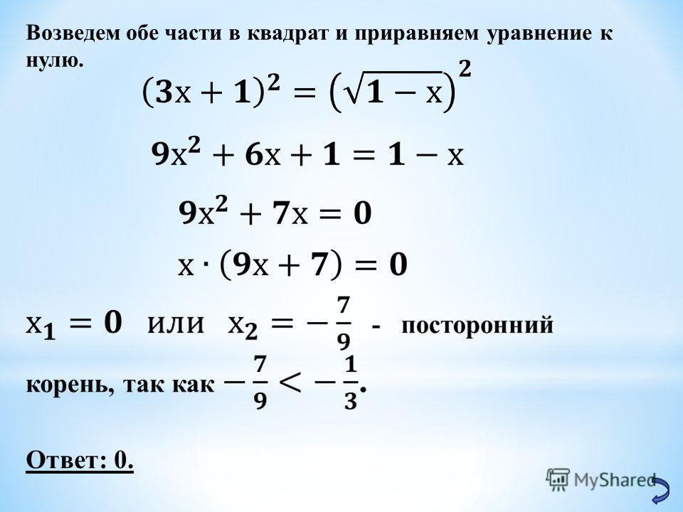 Возведем обе части в квадрат и приравняем уравнение к нулю. Ответ: 0.