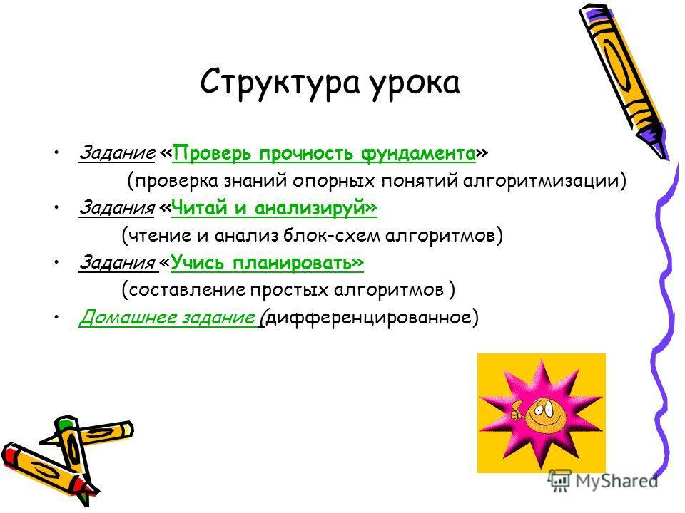 Структура урока Задание «