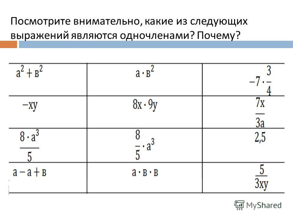 Посмотрите внимательно, какие из следующих выражений являются одночленами ? Почему ?