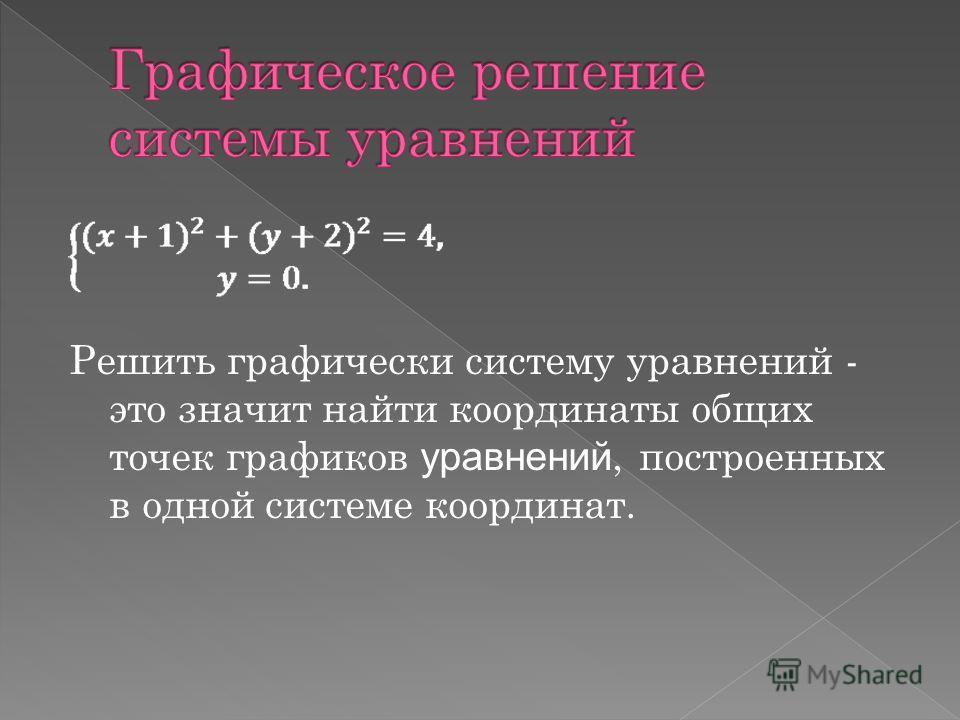 Решить графически систему уравнений - это значит найти координаты общих точек графиков уравнений, построенных в одной системе координат.