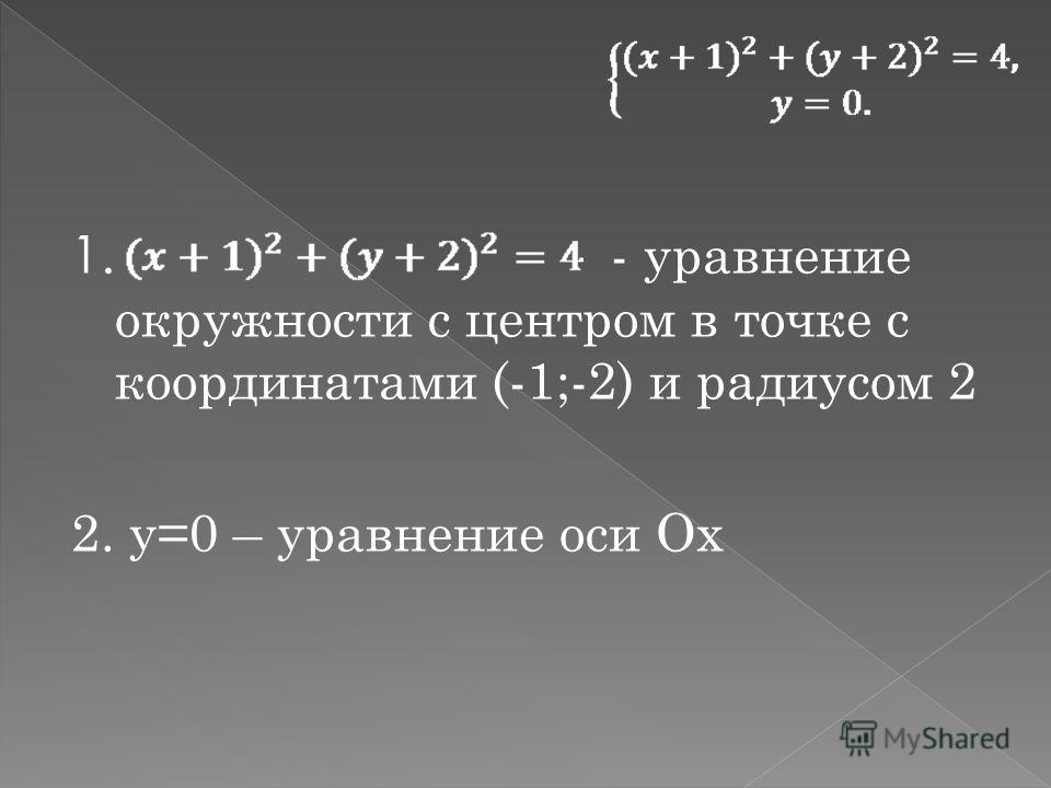 1. - уравнение окружности с центром в точке с координатами (-1;-2) и радиусом 2 2. у=0 – уравнение оси Ох