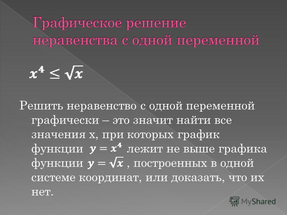 Решить неравенство с одной переменной графически – это значит найти все значения х, при которых график функции лежит не выше графика функции, построенных в одной системе координат, или доказать, что их нет.