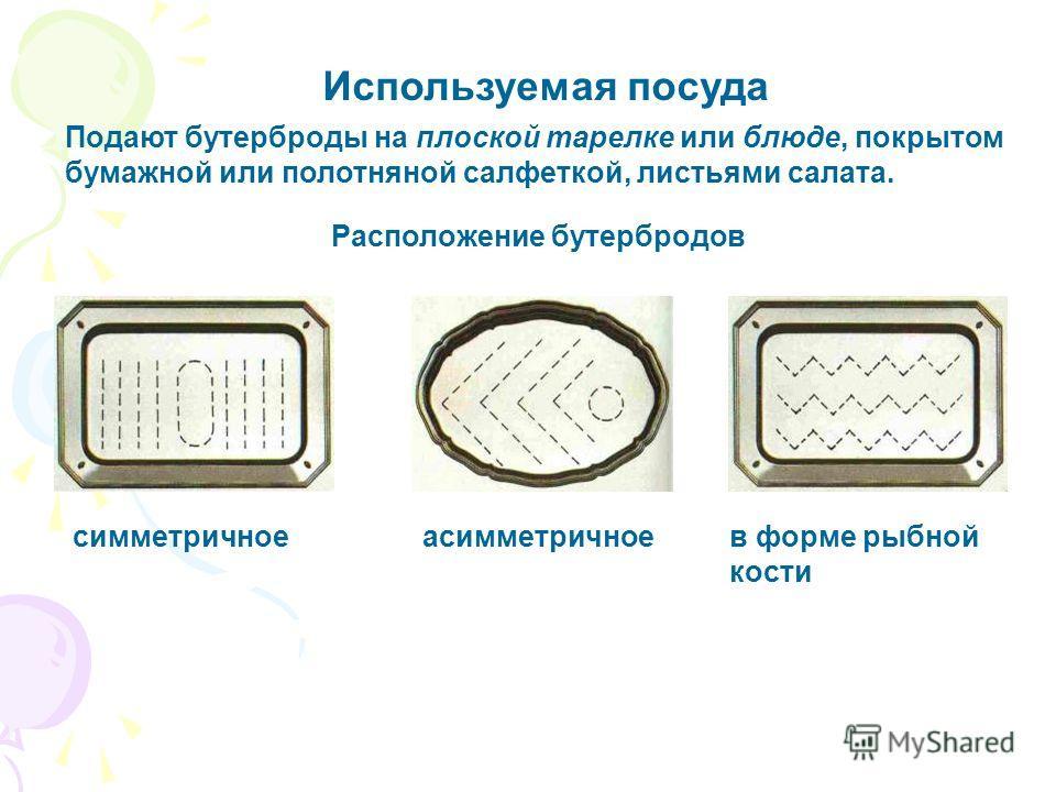 Используемая посуда Подают бутерброды на плоской тарелке или блюде, покрытом бумажной или полотняной салфеткой, листьями салата. Расположение бутербродов симметричноеасимметричноев форме рыбной кости