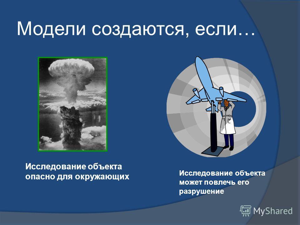 Модели создаются, если… Исследование объекта опасно для окружающих Исследование объекта может повлечь его разрушение