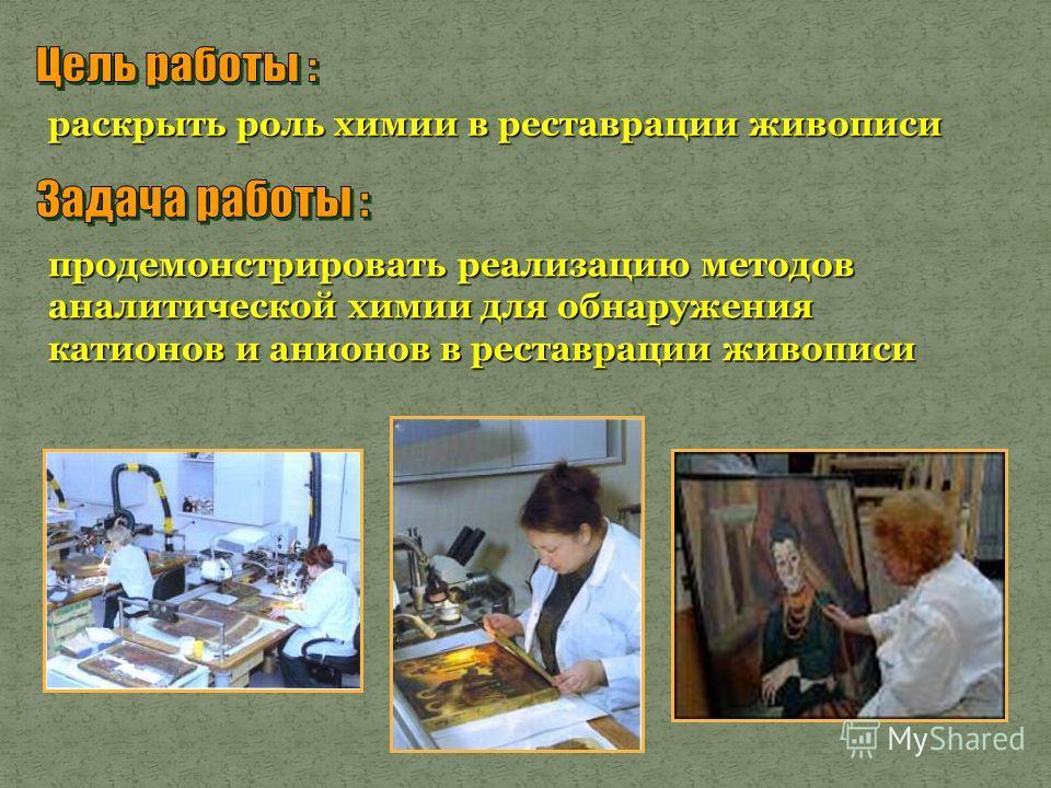 раскрыть роль химии в реставрации живописи продемонстрировать реализацию методов аналитической химии для обнаружения катионов и анионов в реставрации живописи