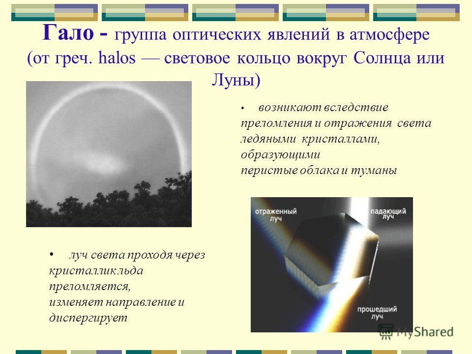 Гало - группа оптических явлений в атмосфере (от греч. halos световое кольцо вокруг Солнца или Луны) возникают вследствие преломления и отражения света ледяными кристаллами, образующими перистые облака и туманы луч света проходя через кристаллик льда