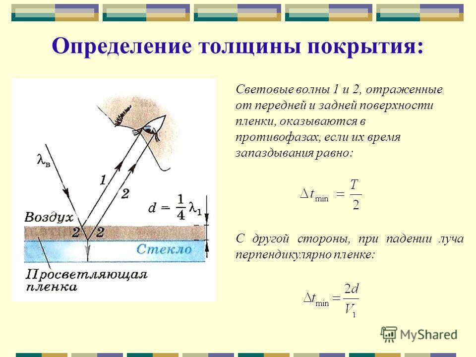 Определение толщины покрытия: Световые волны 1 и 2, отраженные от передней и задней поверхности пленки, оказываются в противофазах, если их время запаздывания равно: С другой стороны, при падении луча перпендикулярно пленке: