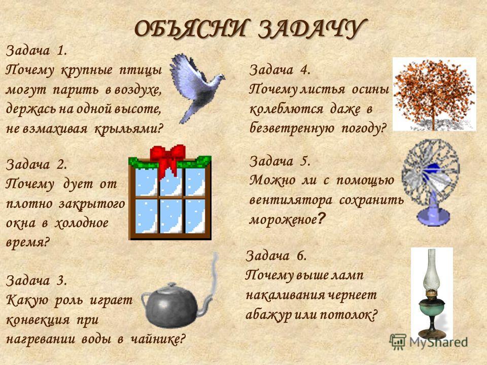 ОБЪЯСНИ ЗАДАЧУ Задача 1. Почему крупные птицы могут парить в воздухе, держась на одной высоте, не взмахивая крыльями? Задача 2. Почему дует от плотно закрытого окна в холодное время? Задача 3. Какую роль играет конвекция при нагревании воды в чайнике