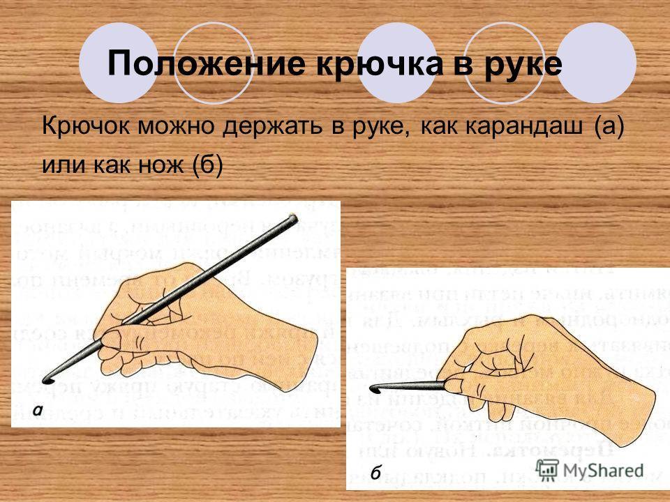 Положение крючка в руке Крючок можно держать в руке, как карандаш (а) или как нож (б)