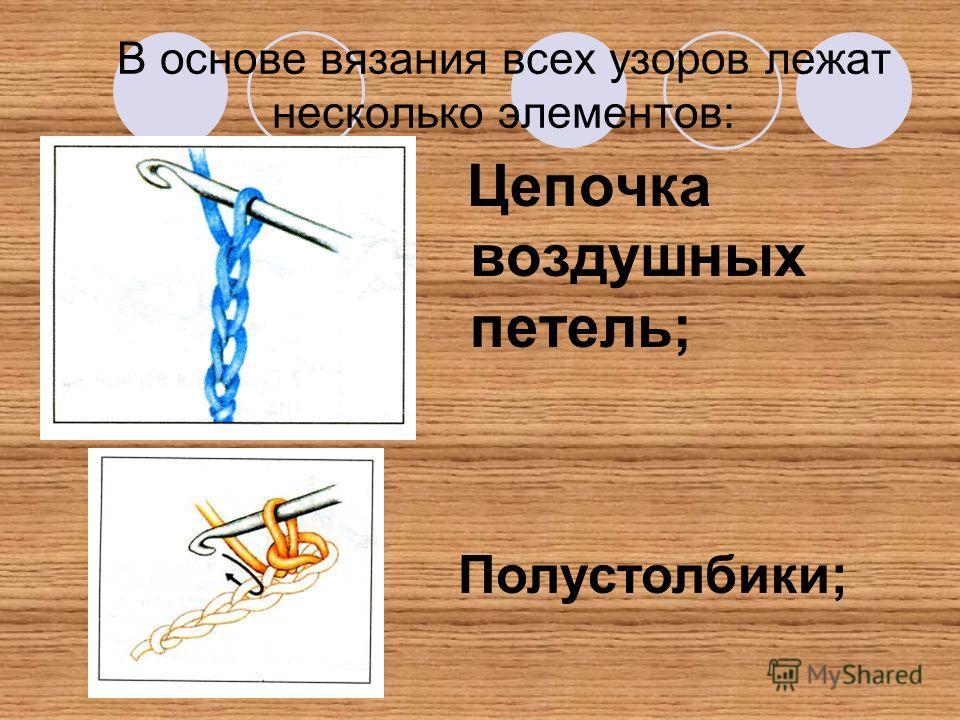 В основе вязания всех узоров лежат несколько элементов: Цепочка воздушных петель; Полустолбики;