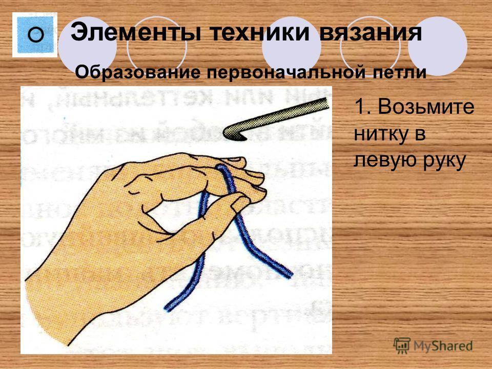 Образование первоначальной петли Элементы техники вязания 1. Возьмите нитку в левую руку