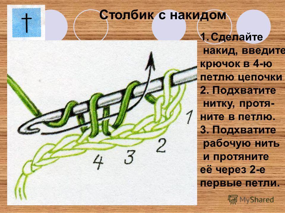 Столбик с накидом 1.Сделайте накид, введите крючок в 4-ю петлю цепочки 2. Подхватите нитку, протя- ните в петлю. 3. Подхватите рабочую нить и протяните её через 2-е первые петли.