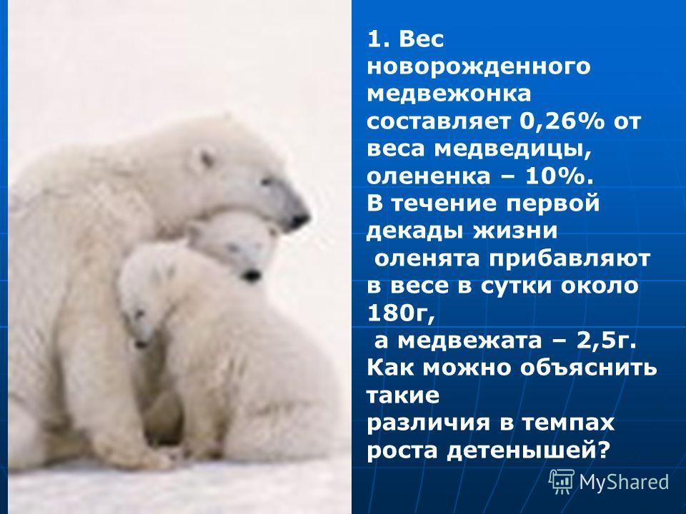 1. Вес новорожденного медвежонка составляет 0,26% от веса медведицы, олененка – 10%. В течение первой декады жизни оленята прибавляют в весе в сутки около 180г, а медвежата – 2,5г. Как можно объяснить такие различия в темпах роста детенышей?