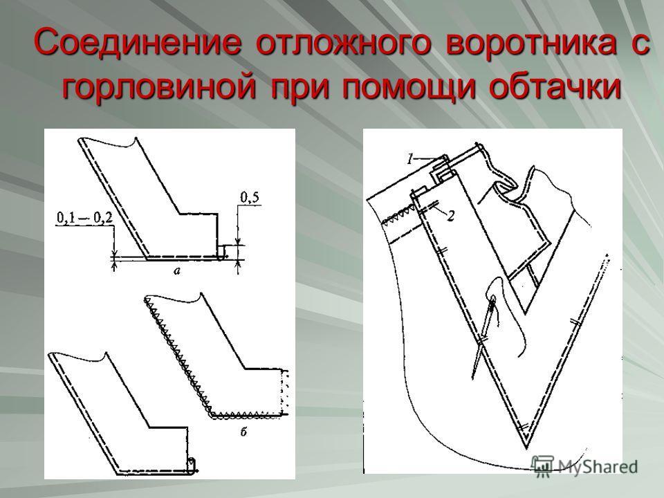 Соединение отложного воротника с горловиной при помощи обтачки