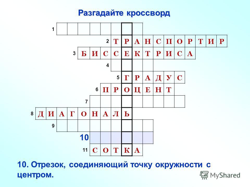 Разгадайте кроссворд 1 2 ТРАНСПОРТИР 3 БИССЕКТРИСА 4 5 ГРАДУС 6 ПРОЦЕНТ 7 8 ДИАГОНАЛЬ 9 11 СОТКА 10. Отрезок, соединяющий точку окружности с центром. 10