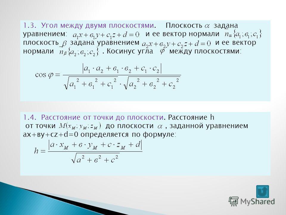 1.3. Угол между двумя плоскостями. Плоскость задана уравнением: и ее вектор нормали плоскость задана уравнением и ее вектор нормали. Косинус угла между плоскостями: 1.4. Расстояние от точки до плоскости. Расстояние h от точки до плоскости, заданной у