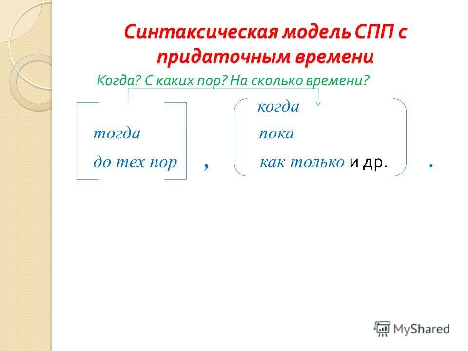 Синтаксическая модель СПП с придаточным времени Когда ? С каких пор ? На сколько времени ? когда тогда пока до тех пор, как только и др..