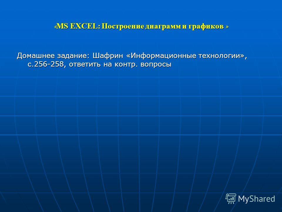 « MS EXCEL: Построение диаграмм и графиков » Домашнее задание: Шафрин «Информационные технологии», с.256-258, ответить на контр. вопросы