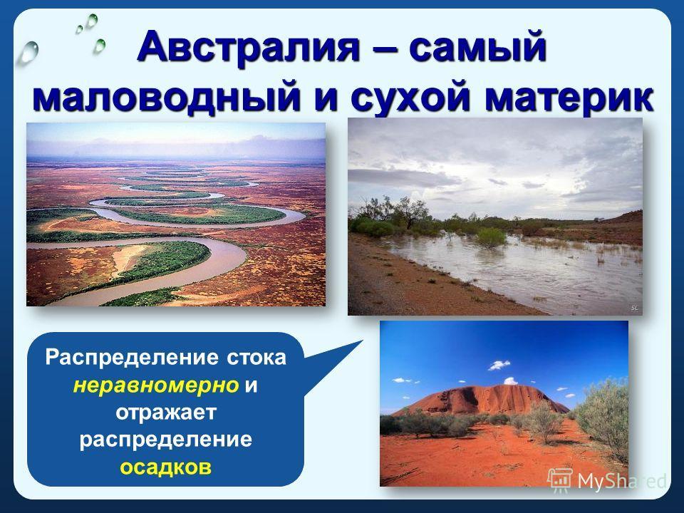 Австралия – самый маловодный и сухой материк Распределение стока неравномерно и отражает распределение осадков