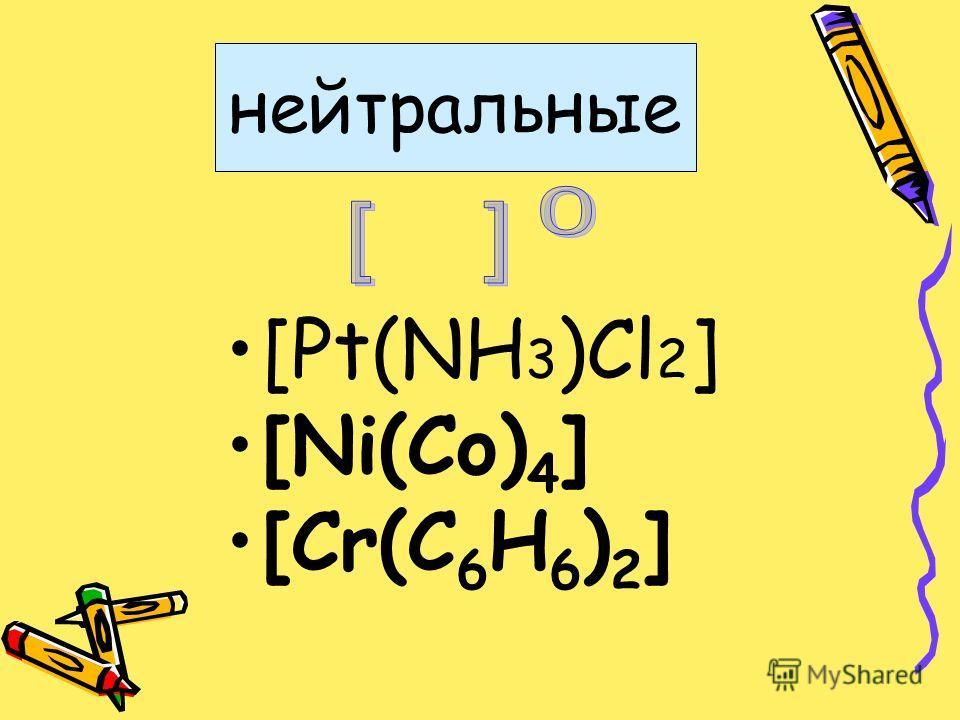нейтральные [Pt(NH 3 )Cl 2 ] [Ni(Co) 4 ] [Cr(C 6 H 6 ) 2 ]