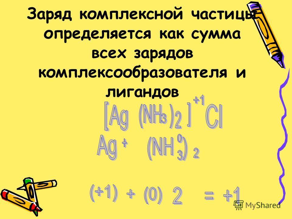 Заряд комплексной частицы определяется как сумма всех зарядов комплексообразователя и лигандов