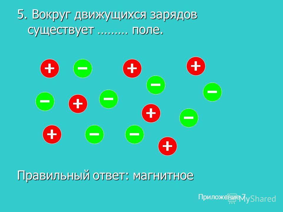 5. Вокруг движущихся зарядов существует ……… поле. Правильный ответ: магнитное Приложение 7