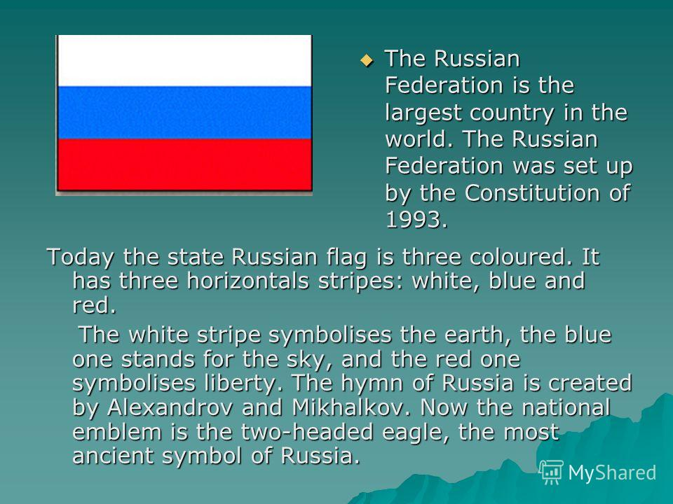 The Russian Federation is the largest country in the world. The Russian Federation was set up by the Constitution of 1993. The Russian Federation is the largest country in the world. The Russian Federation was set up by the Constitution of 1993. Toda