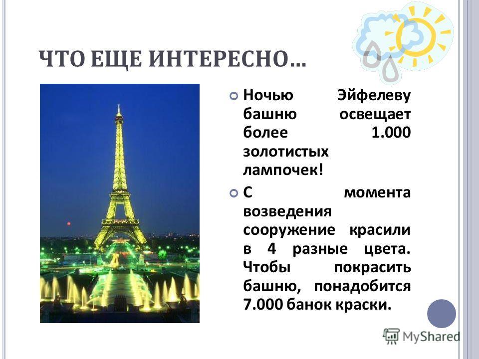ЧТО ЕЩЕ ИНТЕРЕСНО … Ночью Эйфелеву башню освещает более 1.000 золотистых лампочек ! С момента возведения сооружение красили в 4 разные цвета. Чтобы покрасить башню, понадобится 7.000 банок краски.