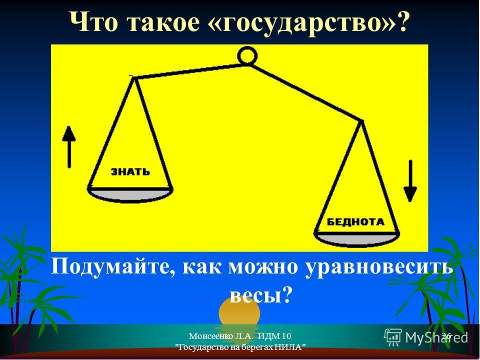 Моисеенко Л.А. ИДМ 10 Государство на берегах НИЛА 26 Подумайте, как можно уравновесить весы? Что такое «государство»?