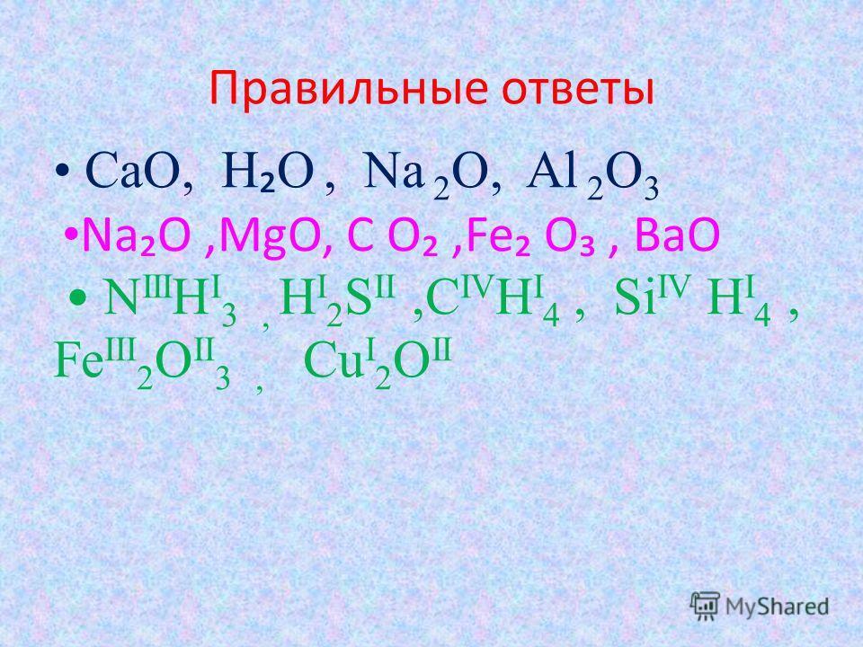 Правильные ответы CaO, H O, Na 2 O, Al 2 O 3 NaO,MgO, C O,Fe O, BaO N III H I 3, H I 2 S II,C IV H I 4, Si IV H I 4, Fe III 2 O II 3, Cu I 2 O II