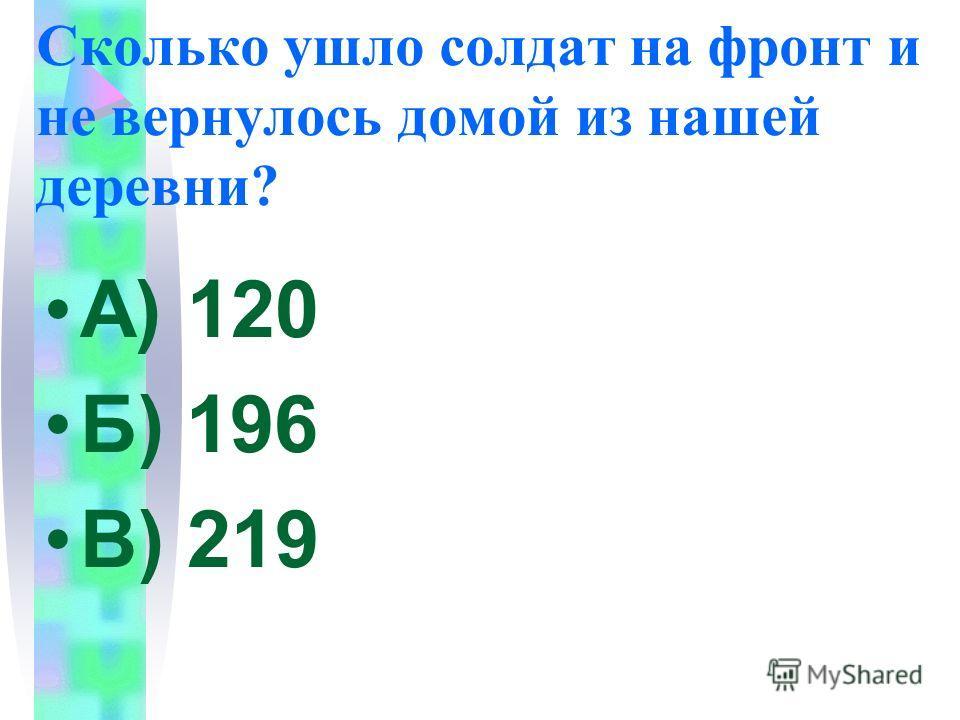 Сколько ушло солдат на фронт и не вернулось домой из нашей деревни? А) 120 Б) 196 В) 219