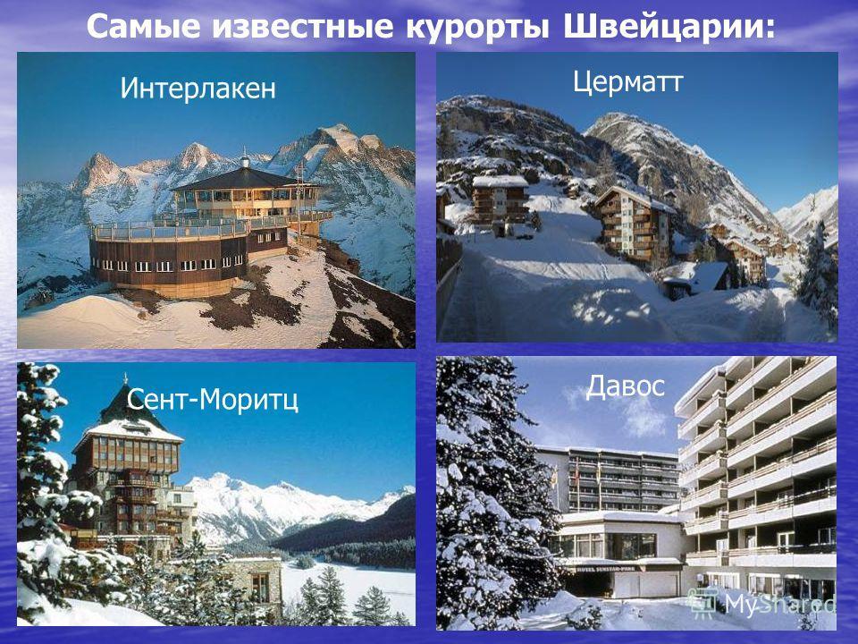 Самые известные курорты Швейцарии: Интерлакен Церматт Сент-Моритц Давос