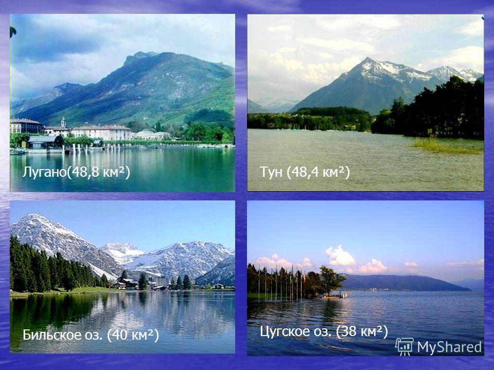 Лугано(48,8 км²)Тун (48,4 км²) Бильское оз. (40 км²) Цугское оз. (38 км²)